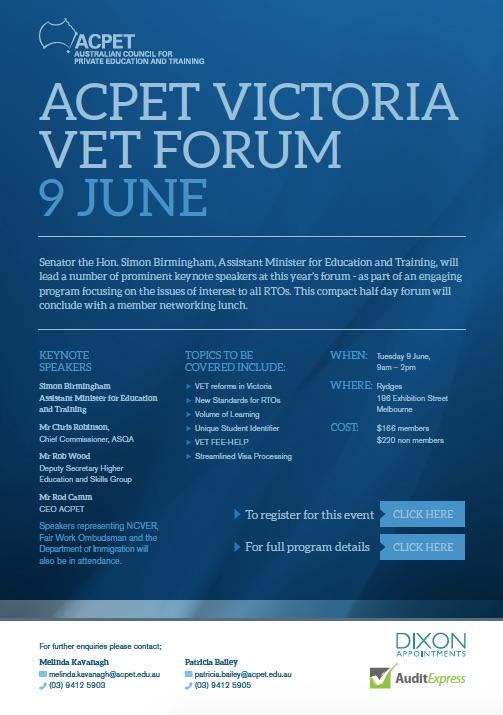 ACPET Victoria VET Forum